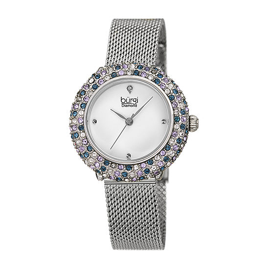 Burgi Womens Diamond Accent Crystal Accent Silver Tone Stainless Steel Bracelet Watch-B-258ssbu