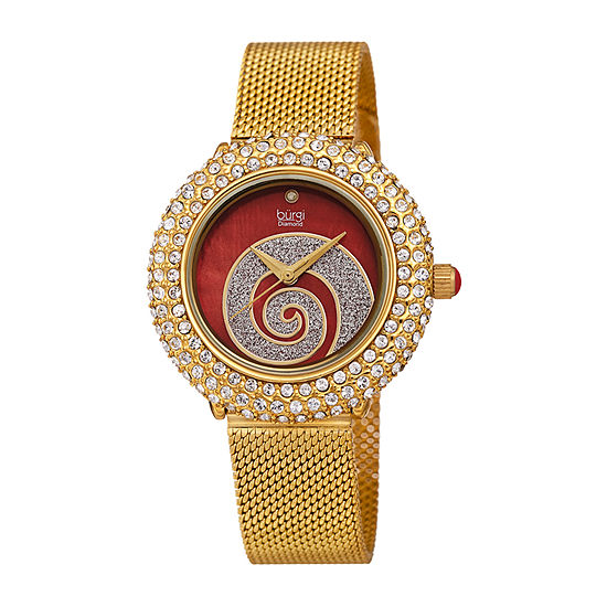 Burgi Womens Diamond Accent Crystal Accent Gold Tone Stainless Steel Bracelet Watch-B-259ygr