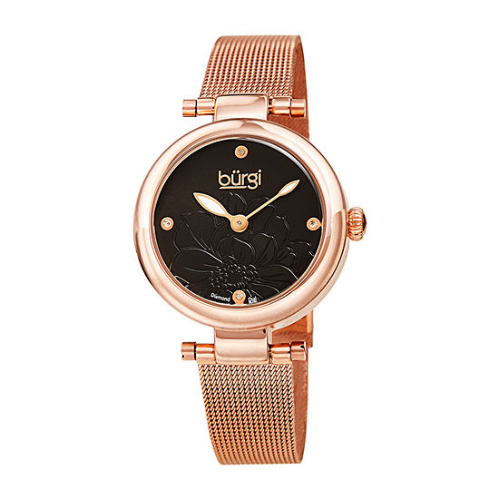Burgi Womens Diamond Accent Crystal Accent Rose Goldtone Stainless Steel Bracelet Watch-B-260rgbk