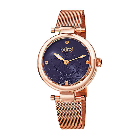 Burgi Womens Diamond Accent Crystal Accent Rose Goldtone Stainless Steel Bracelet Watch-B-260rgbu