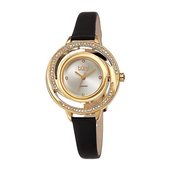Burgi Womens Diamond Accent Crystal Accent Black Leather Bracelet Watch-B-261bk