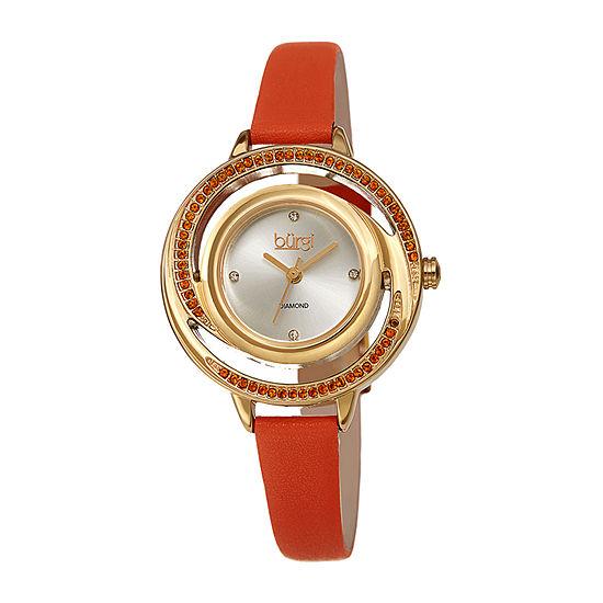 Burgi Womens Diamond Accent Crystal Accent Orange Leather Bracelet Watch-B-261or
