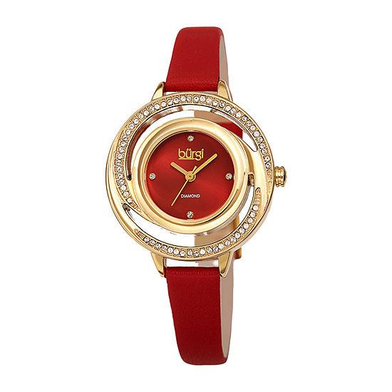 Burgi Womens Red Bracelet Watch-B-261rd