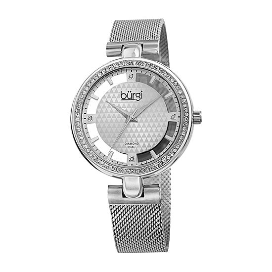 Burgi Womens Diamond Accent Crystal Accent Silver Tone Stainless Steel Bracelet Watch-B-262ss