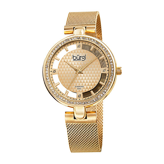 Burgi Womens Diamond Accent Crystal Accent Gold Tone Stainless Steel Bracelet Watch-B-262yg