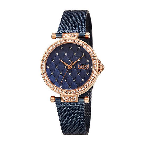 Burgi Womens Crystal Accent Blue Stainless Steel Bracelet Watch-B-263bu