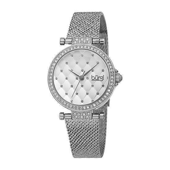 Burgi Womens Crystal Accent Silver Tone Stainless Steel Bracelet Watch-B-263ss