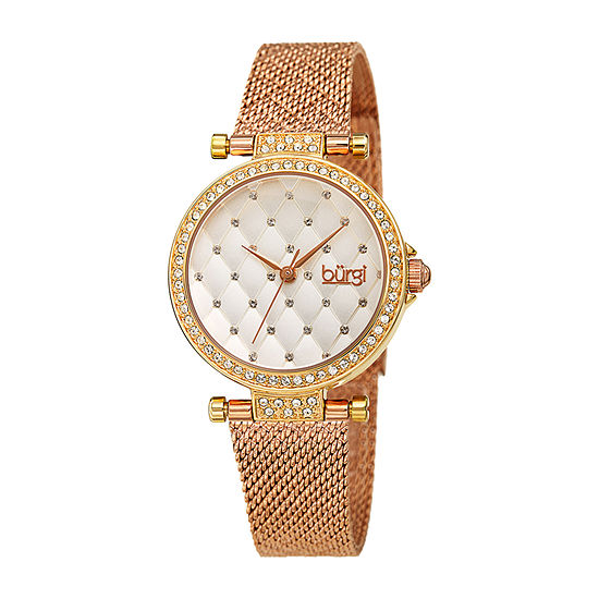 Burgi Womens Crystal Accent Rose Goldtone Stainless Steel Bracelet Watch-B-263tri
