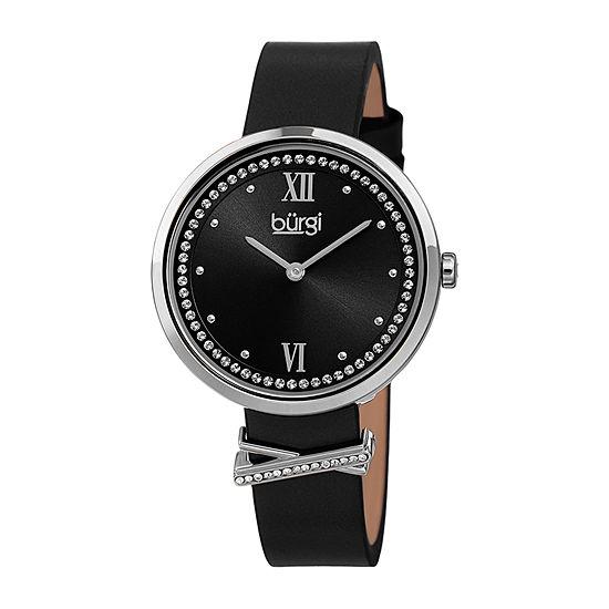 Burgi Womens Crystal Accent Black Leather Strap Watch-B-264bk
