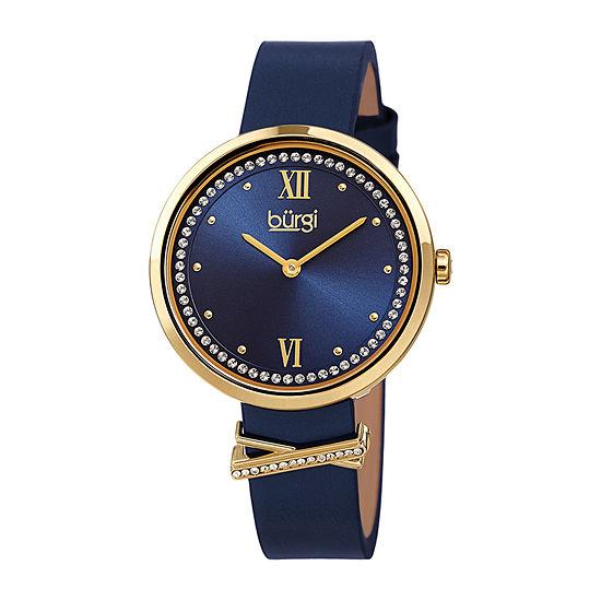 Burgi Womens Crystal Accent Blue Leather Strap Watch-B-264bu