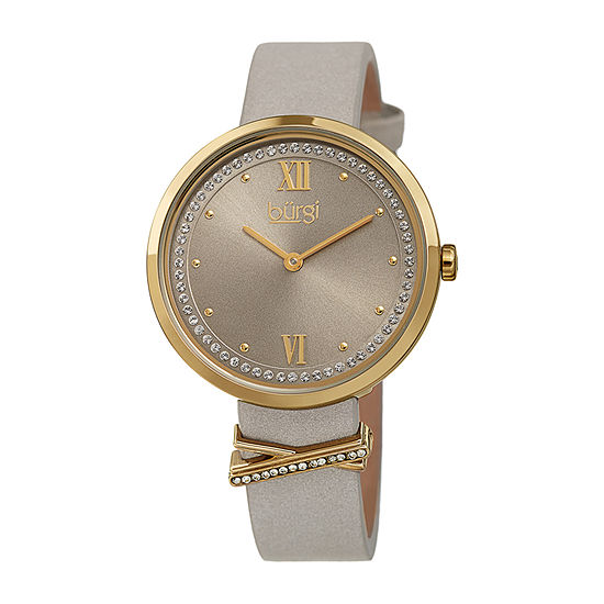 Burgi Womens Crystal Accent Gray Leather Strap Watch-B-264gy