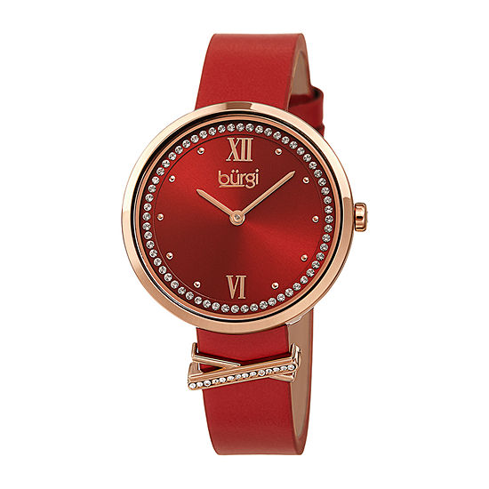 Burgi Womens Crystal Accent Red Leather Strap Watch-B-264rd