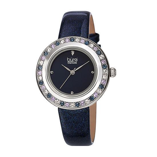Burgi Womens Diamond Accent Crystal Accent Blue Bracelet Watch-B-265bu