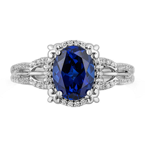 Enchanted Disney Fine Jewelry Womens 1/5 CT. T.W. Lab Created Blue Sapphire Sterling Silver Cinderella Cocktail Ring