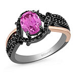 Enchanted Disney Fine Jewelry Villains Womens 1/4 CT. T.W. Lab Created Pink Sapphire 14K Rose Gold Over Silver Maleficent Cocktail Ring