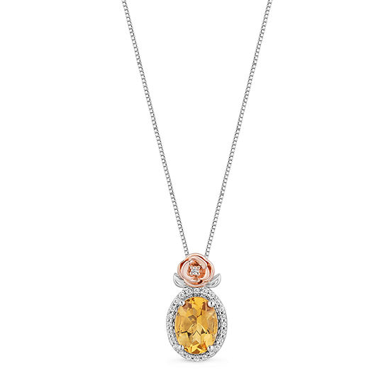 Enchanted Disney Fine Jewelry Womens 1/10 CT. T.W. Genuine Yellow Citrine 14K Rose Gold Over Silver Sterling Silver Beauty and the Beast Pendant