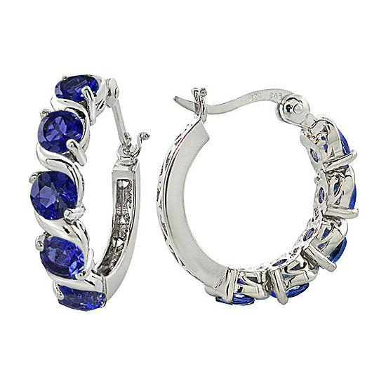 Lab Created Blue Sapphire Sterling Silver 21mm Hoop Earrings