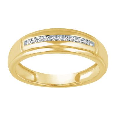 Mens 1/8 CT. T.W. Genuine Diamond 10K Gold Band