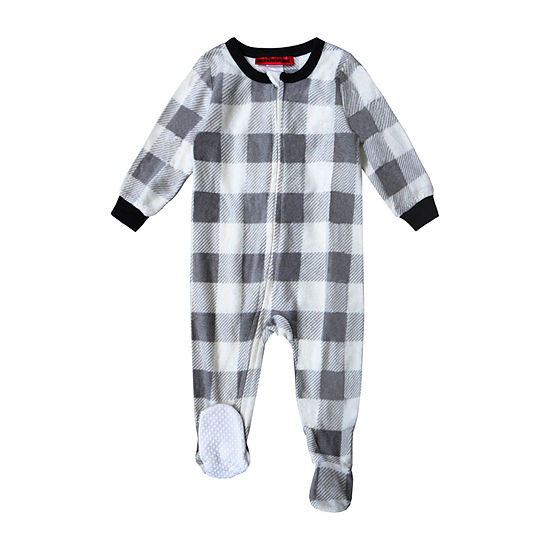 Holiday #FAMJAMS Gray and Black Buffalo Family 1 Piece Pajama - Unisex Baby