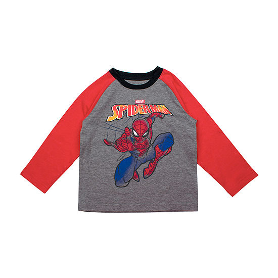 Boys Crew Neck Long Sleeve Spiderman Graphic T-Shirt-Toddler