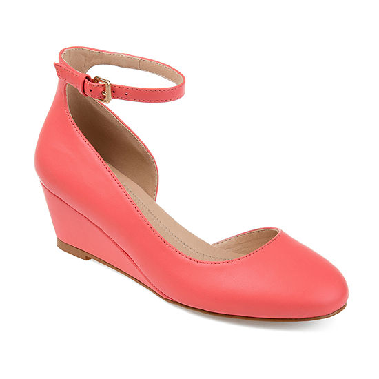 Journee Collection Womens Seely Pumps Buckle Round Toe Wedge Heel