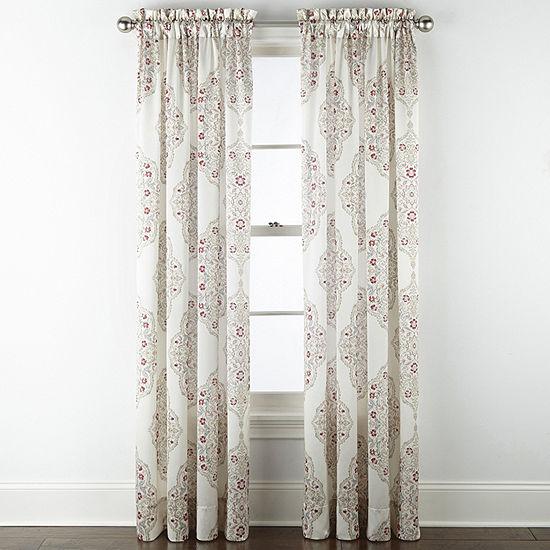 JCPenney Home Hilton Medallion Light-Filtering Rod-Pocket Single Curtain Panel
