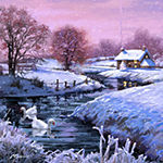 Metaverse Art Christmas Geese Gallery Wrapped Canvas Wall Art