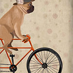 Metaverse Art French Bulldog on Bicycle Framed Wall Art