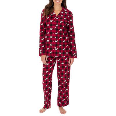 Wembley Scottie Dogs Couples Flannel Unisex Adult 2-pc. Long Sleeve Pant Pajama Set