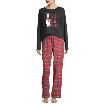 North Pole Trading Co. Fa La Llama Family Womens Long Sleeve 2-pc Pant Pajama Set - Petite
