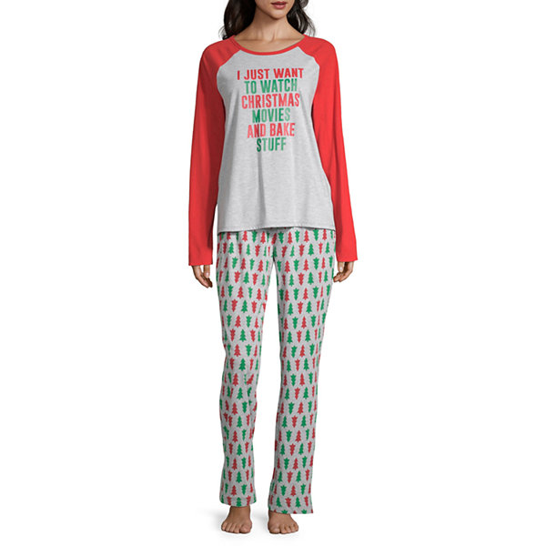 North Pole Trading Co. Christmas Wish Family Long Sleeve Womens-Petite Pant Pajama Set 2-pc.