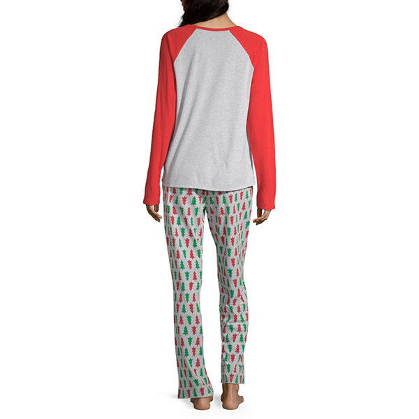 North Pole Trading Co. Christmas Wish Family Womens Long Sleeve -Talls Pant Pajama Set 2-pc.