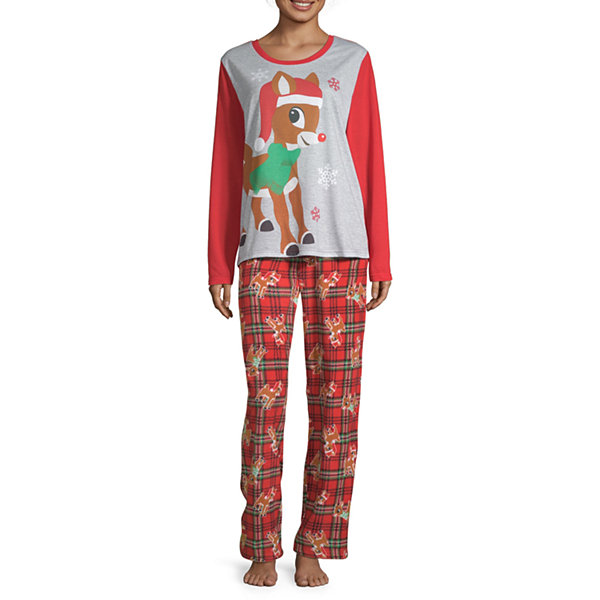 North Pole Trading Co. Rudolph Family Womens-Petite Pant Pajama Set 2-pc. Long Sleeve