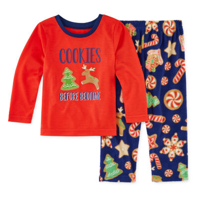 Secret Santa Cookie Family Unisex 2-pc. Pant Pajama Set Toddler