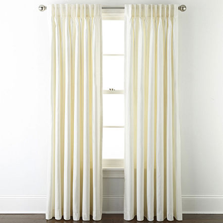 JCPenney Home Supreme Thermal Energy Saving Light-Filtering Pinch-Pleat Single Curtain Panel, One Size , White