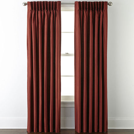 JCPenney Home Supreme Thermal Energy Saving Light-Filtering Pinch-Pleat Single Curtain Panel, One Size , Red