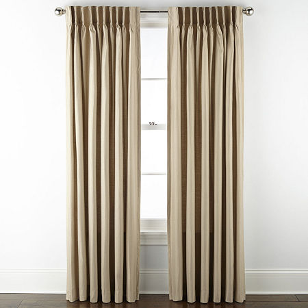 JCPenney Home Supreme Thermal Energy Saving Light-Filtering Pinch-Pleat Single Curtain Panel, One Size , Beige
