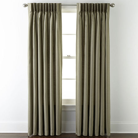 JCPenney Home Supreme Thermal Energy Saving Light-Filtering Pinch-Pleat Single Curtain Panel, One Size , Green