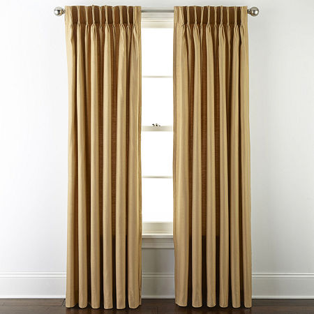 JCPenney Home Supreme Thermal Energy Saving Light-Filtering Pinch-Pleat Single Curtain Panel, One Size , Yellow
