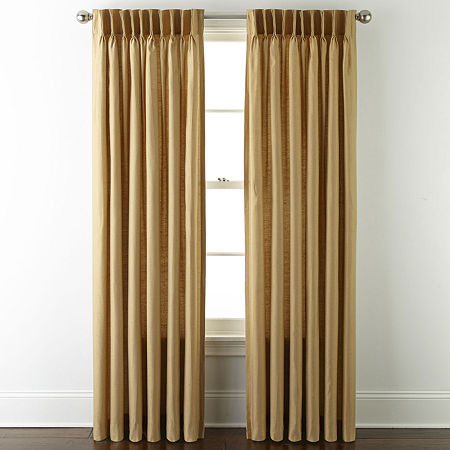 JCPenney Home Supreme Energy Saving Light-Filtering Pinch-Pleat Single Curtain Panel, One Size , Yellow
