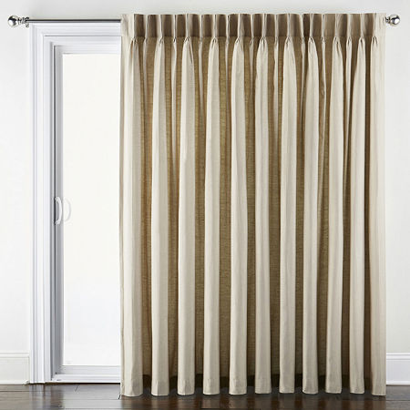 JCPenney Home Supreme Energy Saving Light-Filtering Pinch-Pleat Single Patio Door Curtain, One Size , Beige