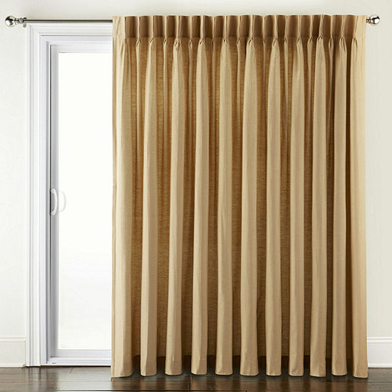 JCPenney Home Supreme Energy Saving Light-Filtering Pinch-Pleat Single Patio Door Curtain