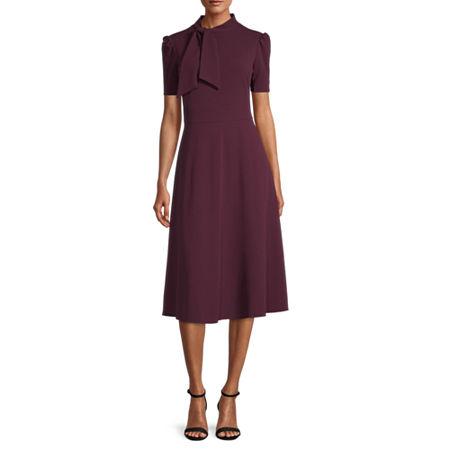 1930s Dresses   30s Art Deco Dress London Style Short Sleeve Midi Fit  Flare Dress 12  Red $30.09 AT vintagedancer.com