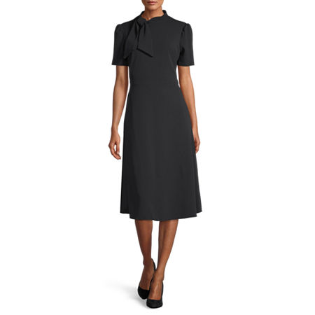 1940s Dresses | 40s Dress, Swing Dress, Tea Dresses London Style Short Sleeve Midi Fit  Flare Dress 10  Blue $30.09 AT vintagedancer.com