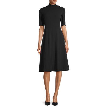 1930s Dresses   30s Art Deco Dress London Style Short Sleeve Midi Fit  Flare Dress 16  Black $39.99 AT vintagedancer.com