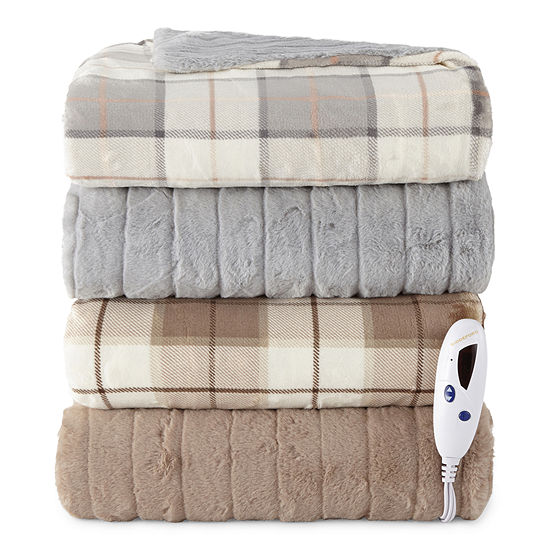 Biddeford Fur Heated Velour Automatic Shut Off Electric Throws