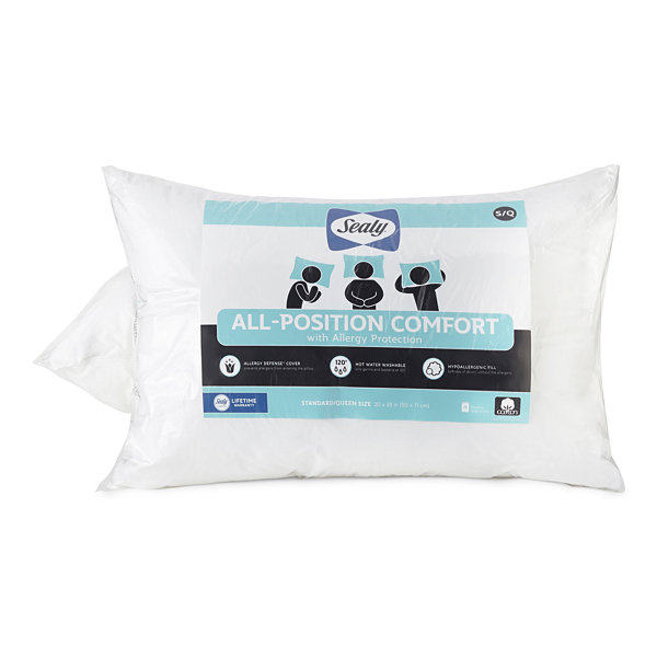 Sealy All Position Allergy Protection Allergen Barrier Medium Density Pillow 2-Pack