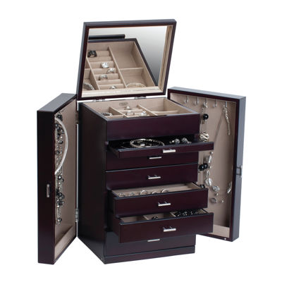 Mele & Co. Geneva Womens Java-Finish Upright Jewelry Box