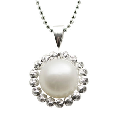 Cultured Freshwater Pearl Sterling Silver Drop Pendant Necklace