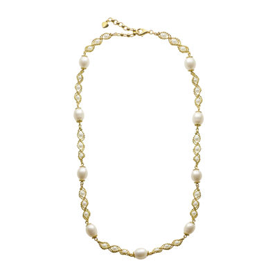 Cultured Freshwater Pearl 14K Gold Over Sterling Silver Brilliance Bead Necklace
